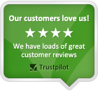 Our customers love us! We have loads of great customer reviews. -- TrustPilot
