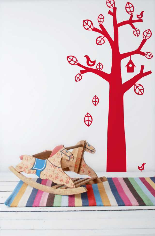 Bird Tree Kids Wall Sticker - Red