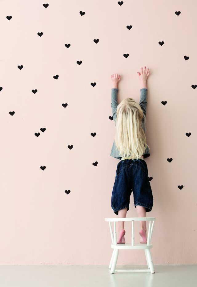 Mini Hearts Kids Wall Sticker - Black