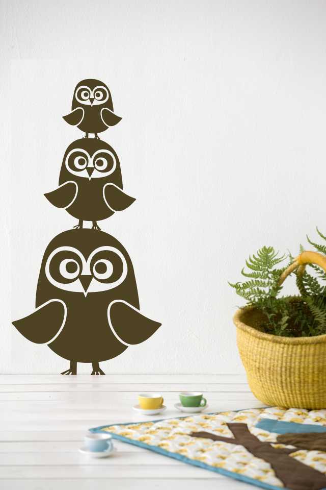 Three Owls Kids Wall Sticker - Brown